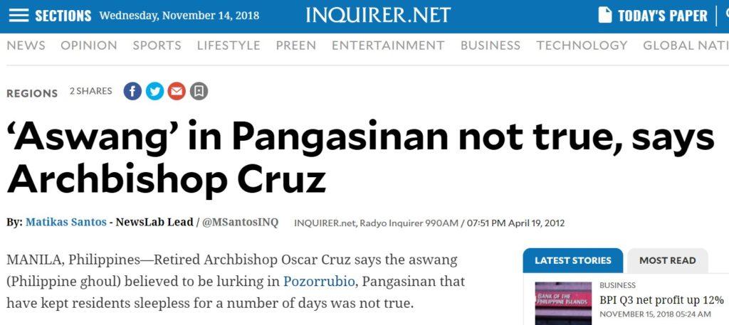 """Screenshot eines Artikels in der Online-Ausgabe der philippinischen Tageszeitung """"Inquirer"""""""