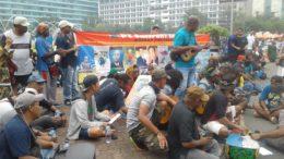 Demonstration am Kreisverkehr Hotel Indonesia, Jakarta © Tri Puspital
