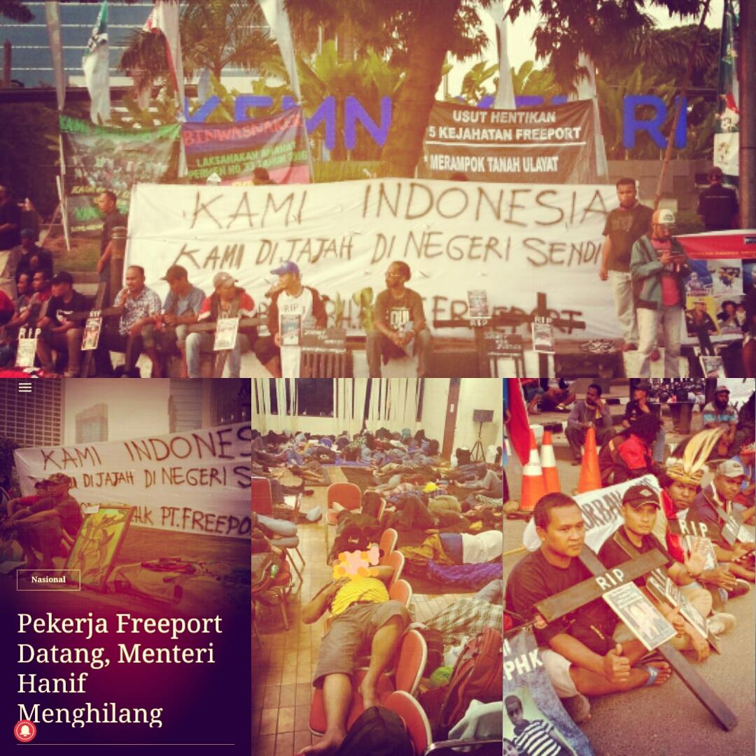 Demonstration zur Durchsetzung des Arbeitsrechts vor dem Ministerium für Arbeit und Soziales © Tri Puspital