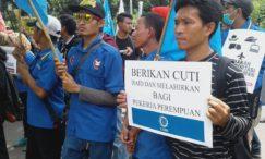 Demonstration am internationalen Frauentag 2018 in Jakarta. Arbeiter fordern bessere Arbeitsbedingungen und Mutterschutz für Arbeiterinnen © LIPS