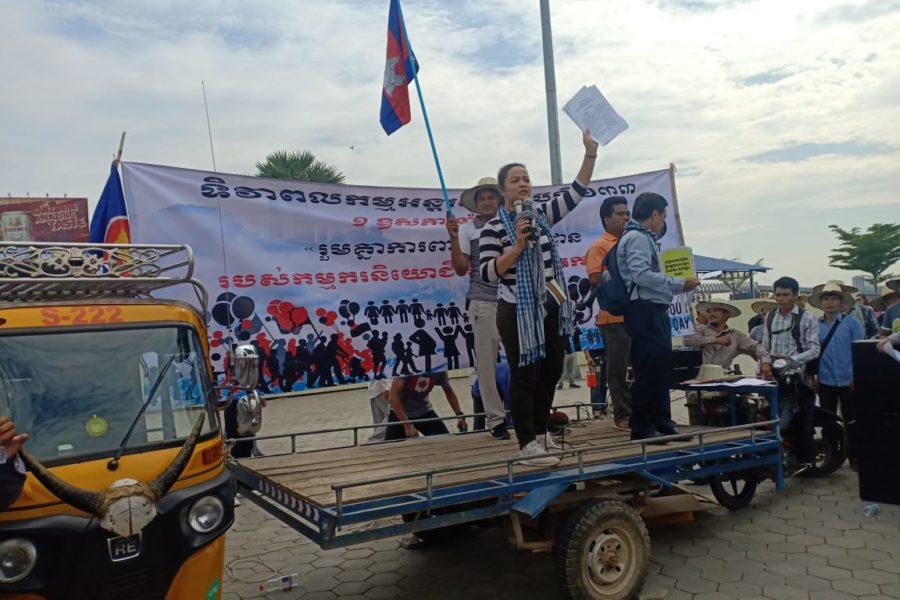 Unter anderem hielt die Präsidentin der Gewerkschaftsföderation Cambodian Food and Service Workers Federation (CFSWF) OU Tep Phallin eine Rede © Ali Al-Nasani