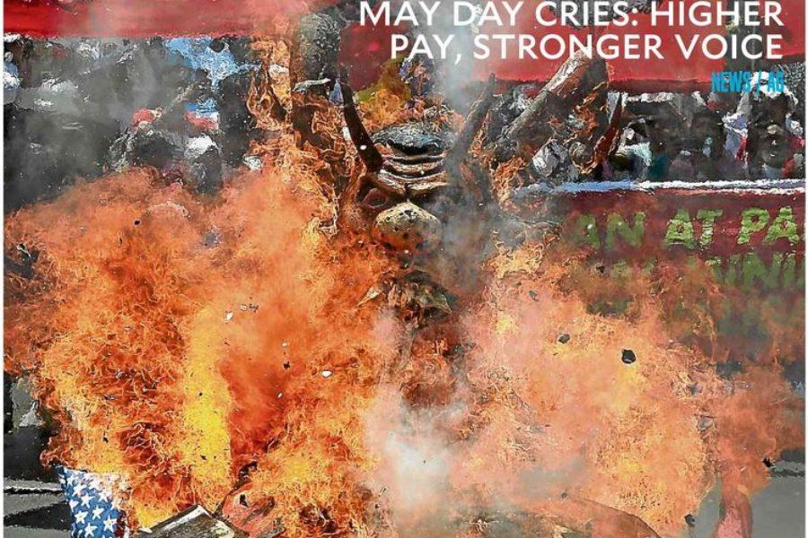 Pappmaché-Figur von Präsident Duterte als Monster geht in Flammen auf, Screenshot der Titelseite vom Inquirer, 1. Mai 2019