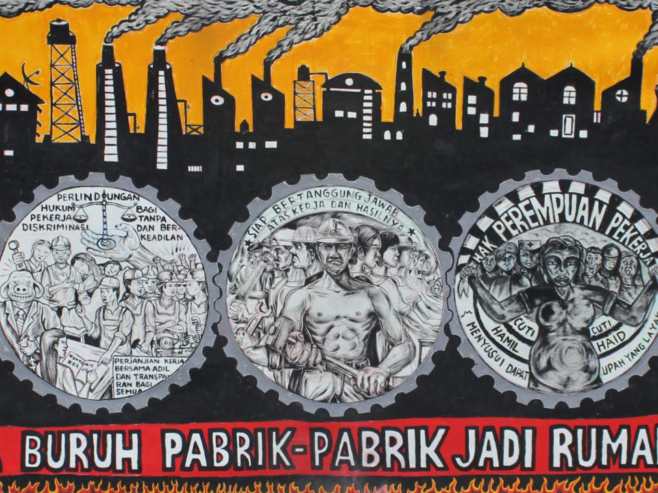 Ohne Arbeiter werden die Fabriken zu Geisterhäusern © Taring Padi