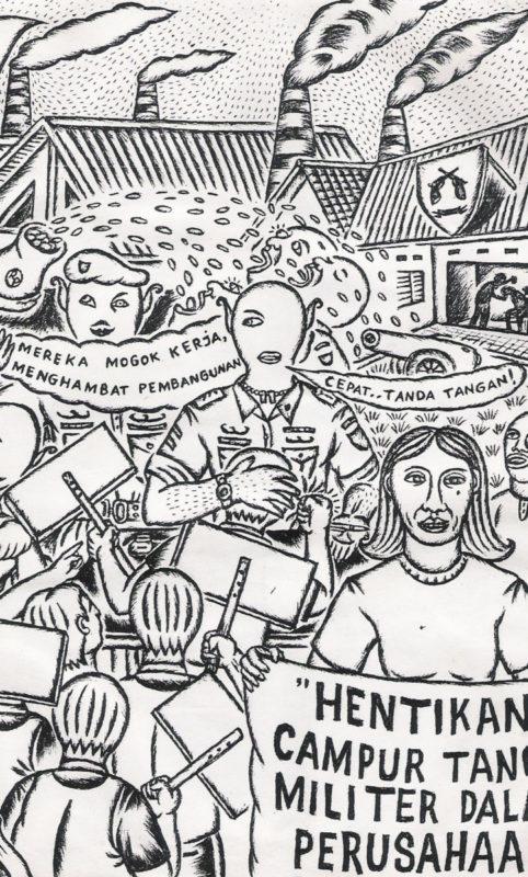 Illustration Trompet Rakyat XII: Beendet die Einmischung des Militärs in Unternehmen © Taring Padi