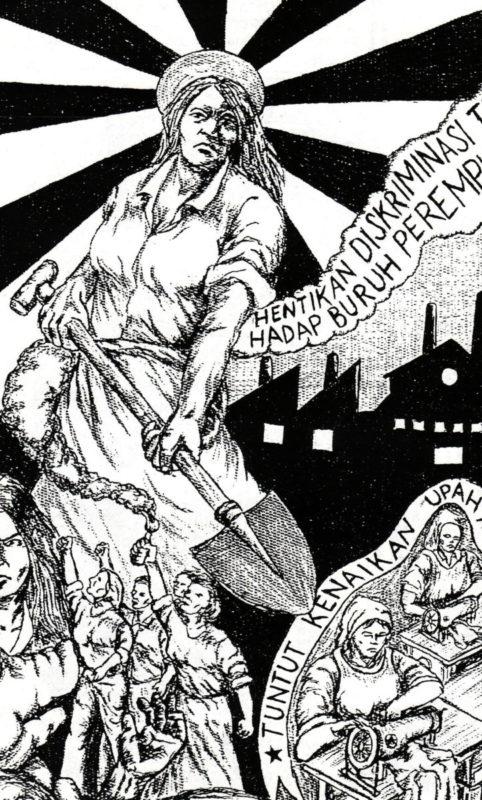 Illustration Trompet Rakyat XIX: Stoppt die Diskriminierung von Arbeiterinnen © Taring Padi