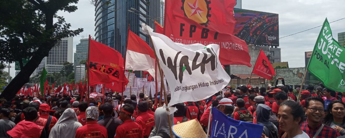 Auch Umweltaktivist*innen von WAHLI demonstrieren mit Gewerkschaften am 1. Mai in Jakarta © Yuyun Harmono, Indonesien, 2019