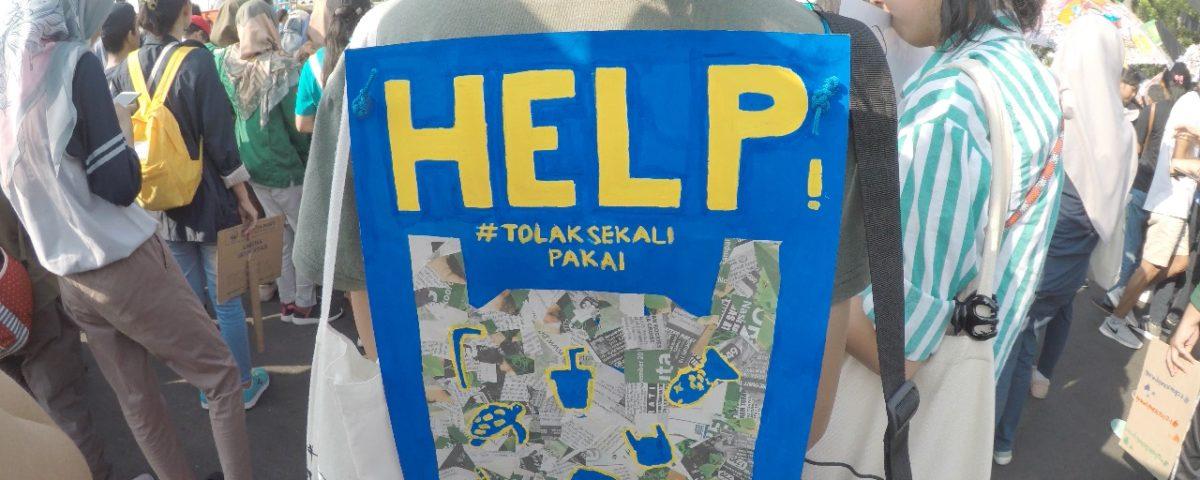 """""""Hilfe! Gegen Einwegplastik"""": Proteste gegen Plastikmüll in der indonesischen Haupstadt Jakarta © Watchdoc"""