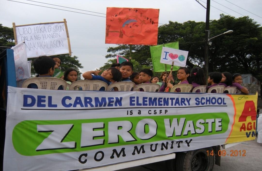 Schulkinder in San Fernando engagieren sich für das Zero Waste Programm © Mother Earth Foundation