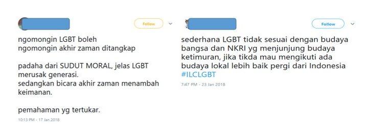 Screenshot von Anti-LGBT-Meldungen auf Twitter, die darauf eingehen, dass LGBT die indonesische Kultur und Moral verletze