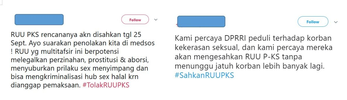 Screenshot von einem Tweet: Pro und Kontra zum Gesetzesvorschlag zur Verhinderung sexueller Gewalt