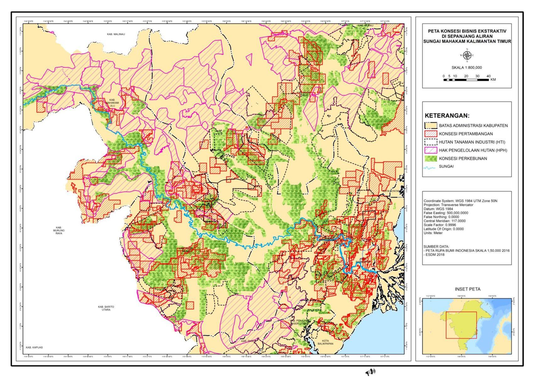 Die Karte zeigt den Mahakam-Fluss umgeben von Kohleabbaukonzessionen in Ost-Kalimantan © Seny / JATAM